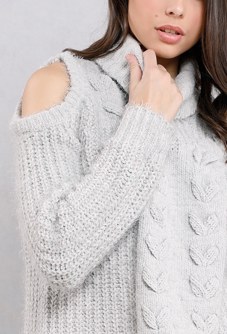Heavy Cable Knit Turtleneck Sweater | Shop Web Exclusive at Papaya ...