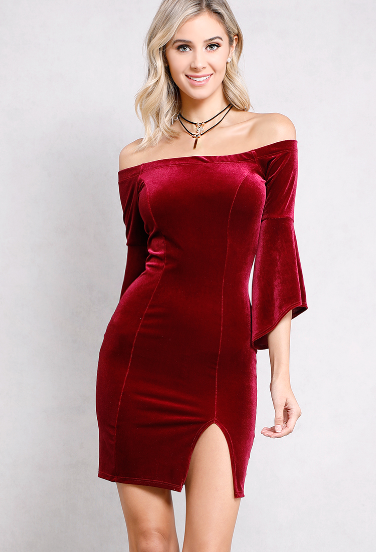 Velvet Off-The-Shoulder Bell-Sleeve Dress W/ Necklace