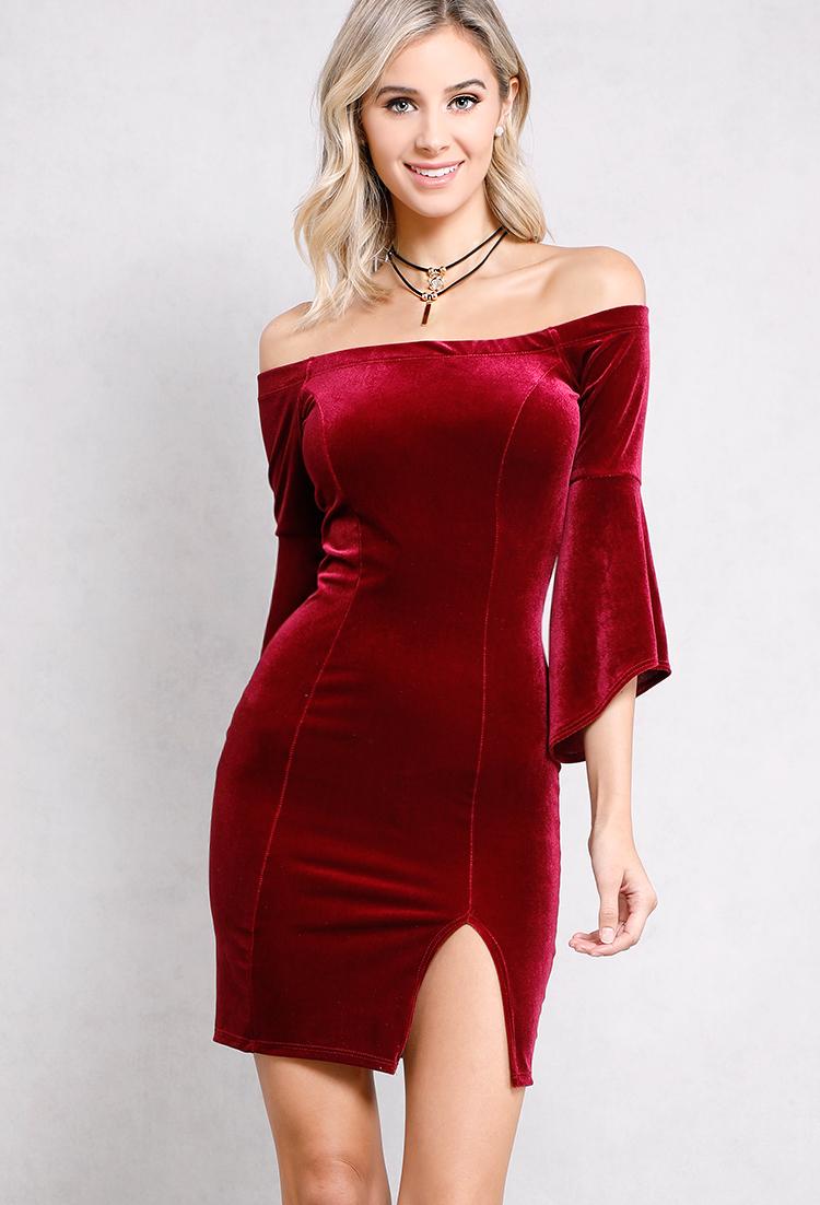 velvet off-the-shoulder bell-sleeve dress w/ necklace