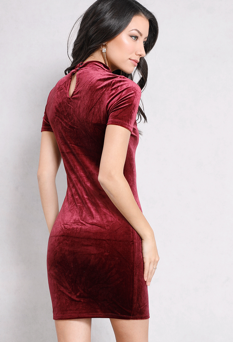 Velvet Cut-Out Bodycon Dress