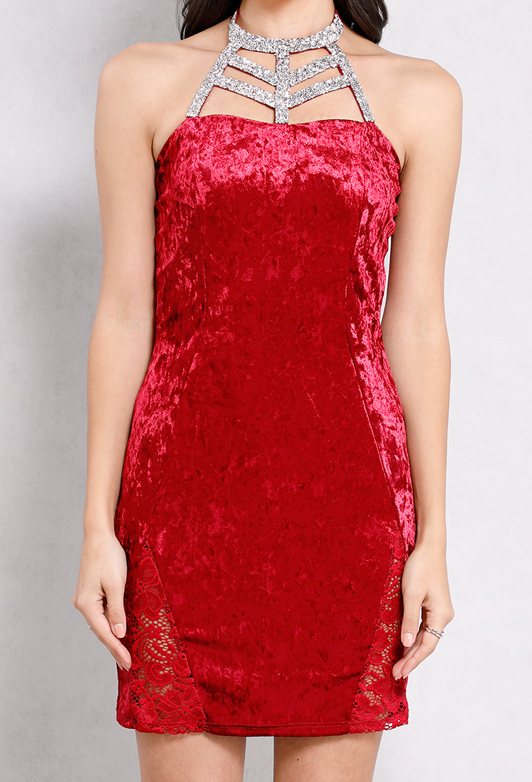 Rhinestone Embellished Velvetl Bodycon Dress