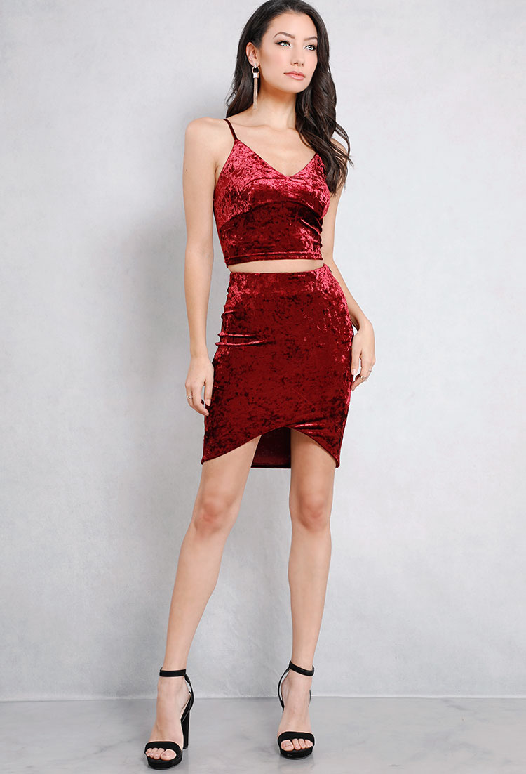 Velvet Surplice Bodycon Skirt
