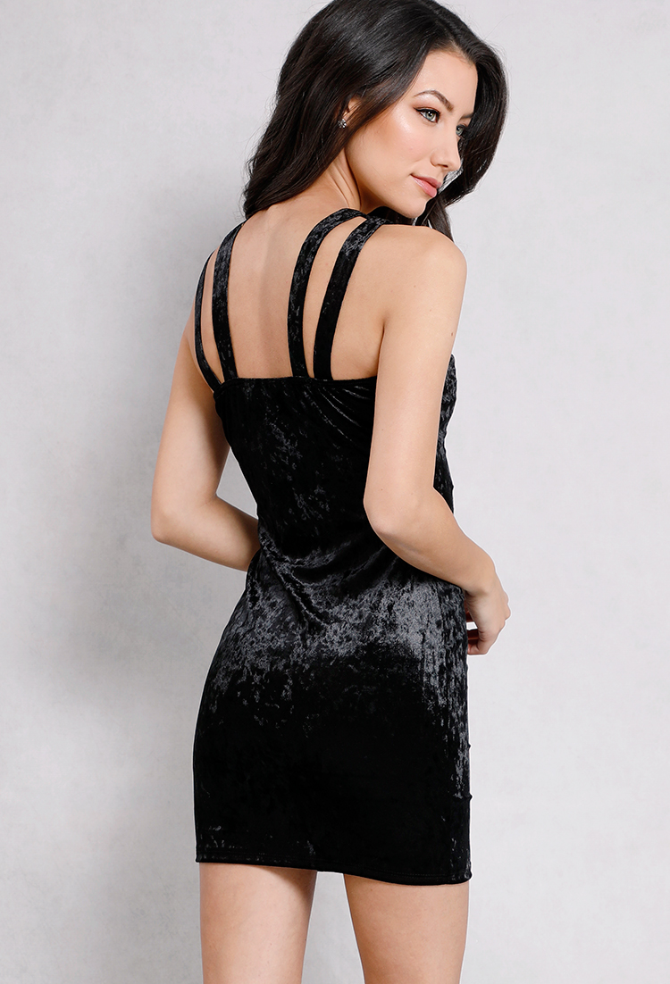 Rhinestone Embellished Velvet Bodycon Dress