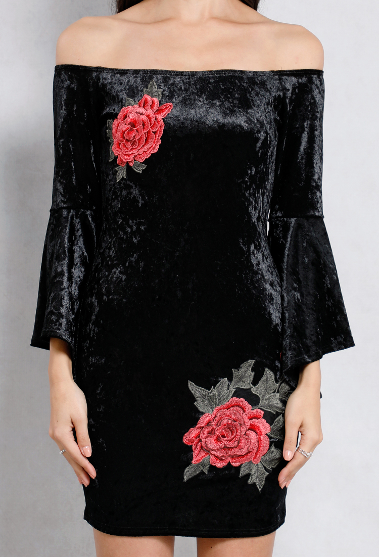 Off-The-Shoulder Velvet Floral Applique Dress