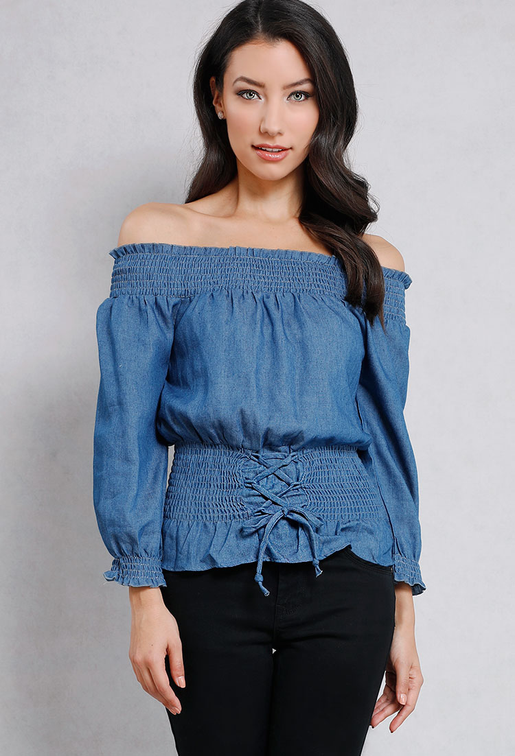 find lowest price outlet on sale professional website Smocked Off-The-Shoulder Denim Corset Top | Shop Old New And ...