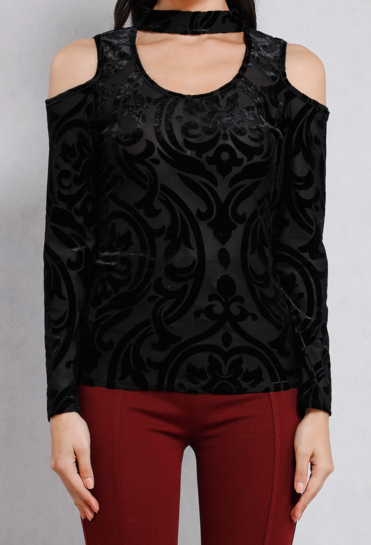Open-Shoulder Velvet Embossed Floral Choker Top