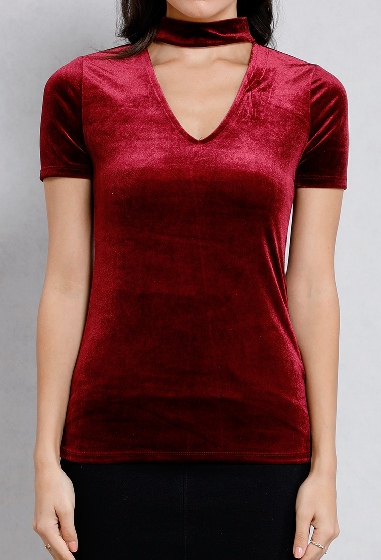 Velvet Choker Cut-Out Top