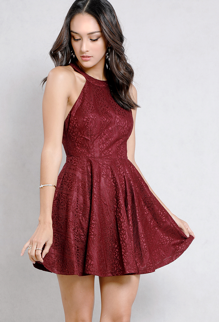 Fl Lace Halter Neck Fit And Flare Dress Old Dresses At 2b94aad66