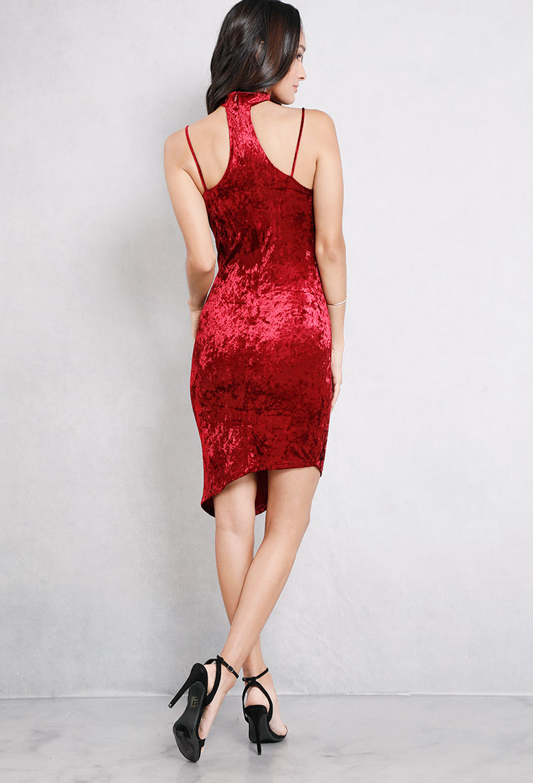 Velvet Chokered Side-Slit Bodycon Dress
