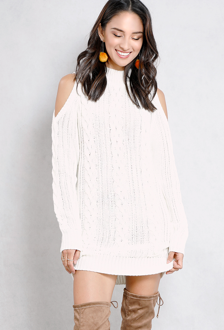 Open-Shoulder Mock-Neck Cable Knit Sweater | Shop Long Sleeve at ...