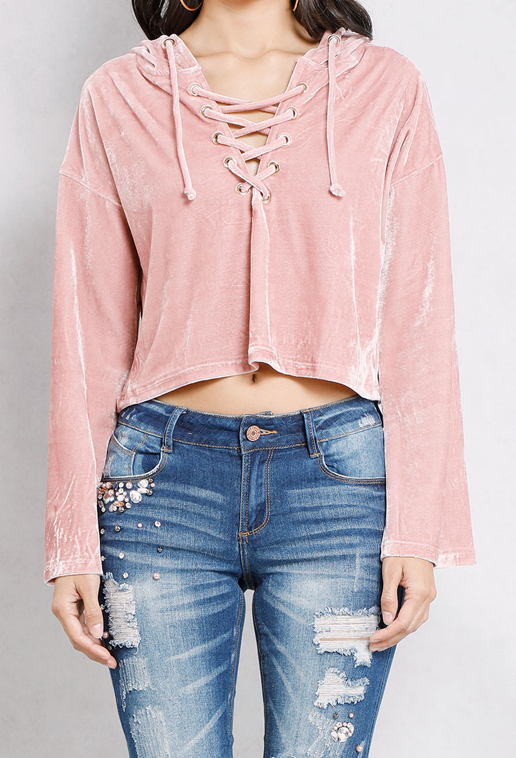 Lace-Up Velvet Cropped Hoodie