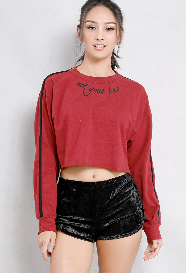 2fca26ff4 Not Your Bae Graphic Cropped Sweatshirt