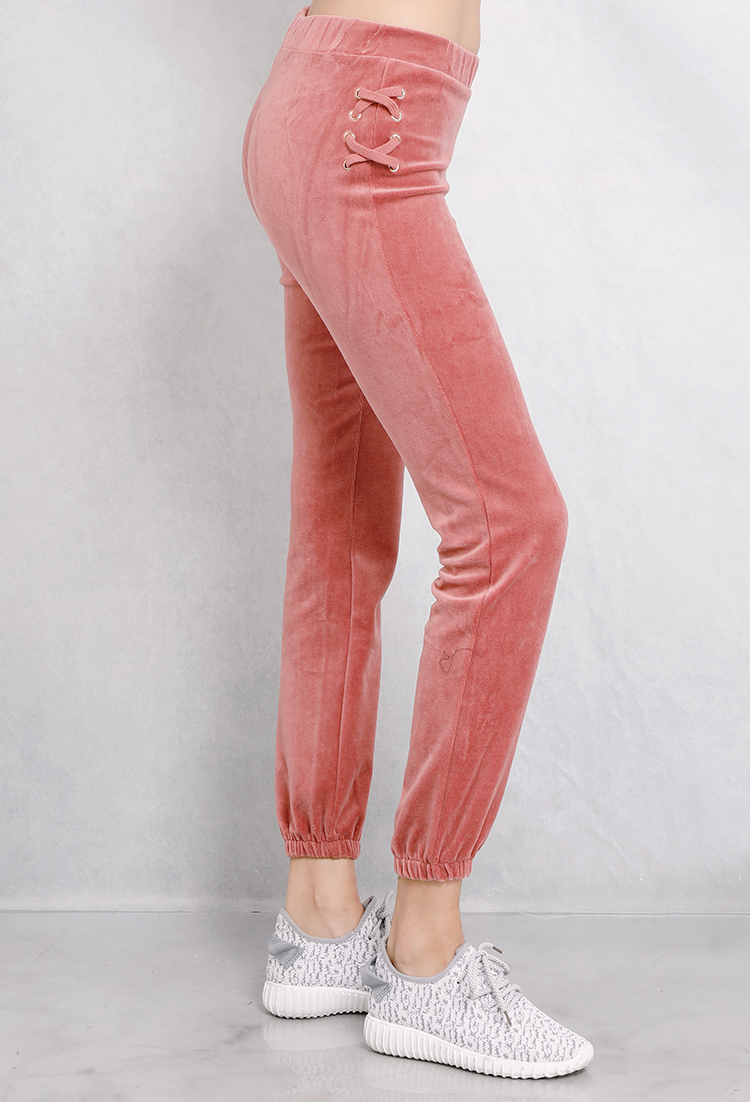 Velvet Lace-Up Side Jogger