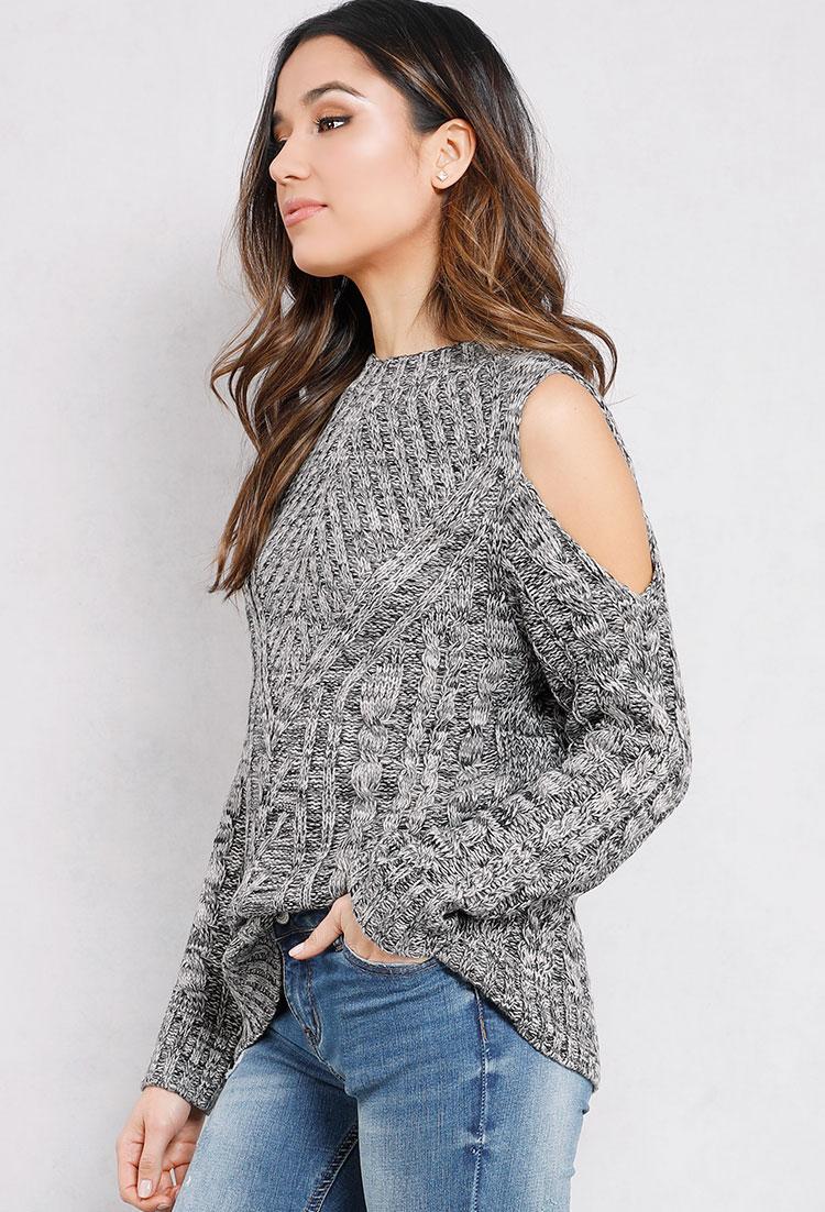 Open-Shoulder Cable Knit Sweater | Shop Long Sleeve at Papaya Clothing