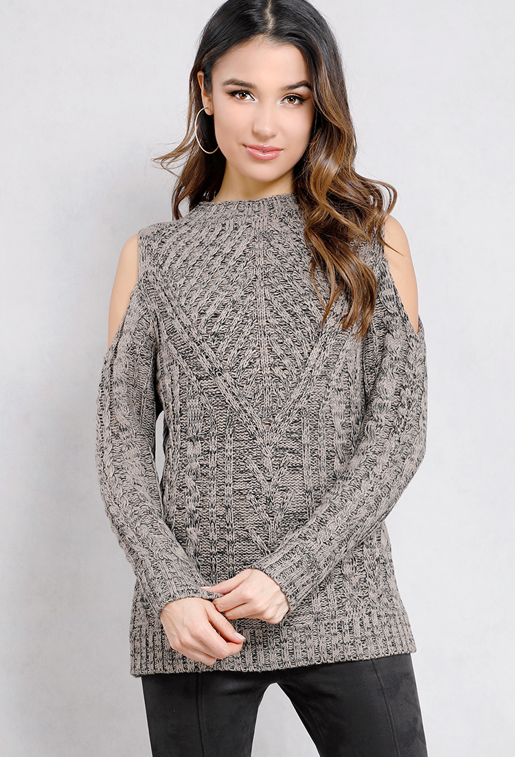 Open-Shoulder Cable Knit Sweater | Shop New And Now at Papaya Clothing