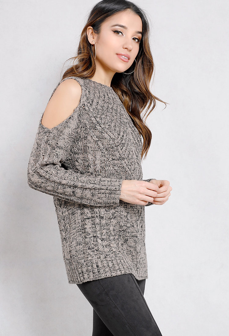 Open-Shoulder Cable Knit Sweater | Shop Lightweight at Papaya Clothing