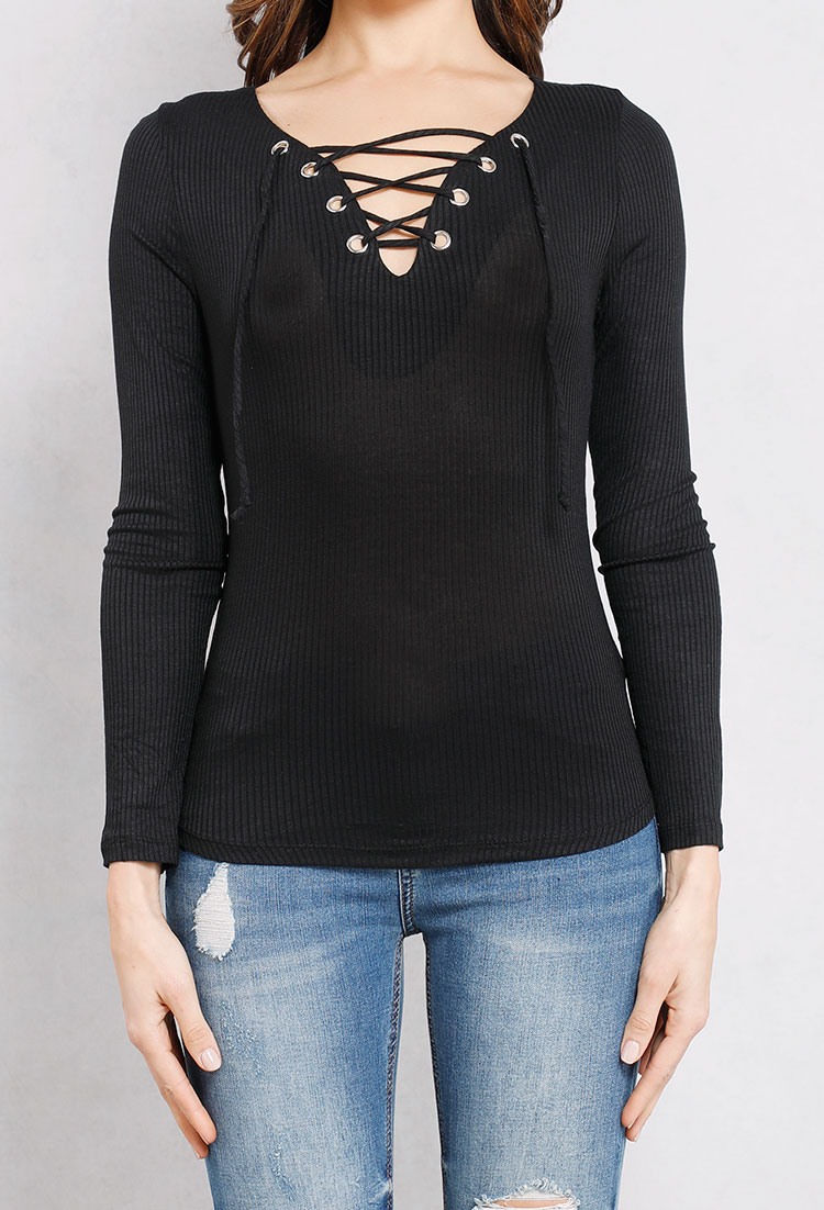 6387389ea1792 Ribbed Lace-Up Front Top