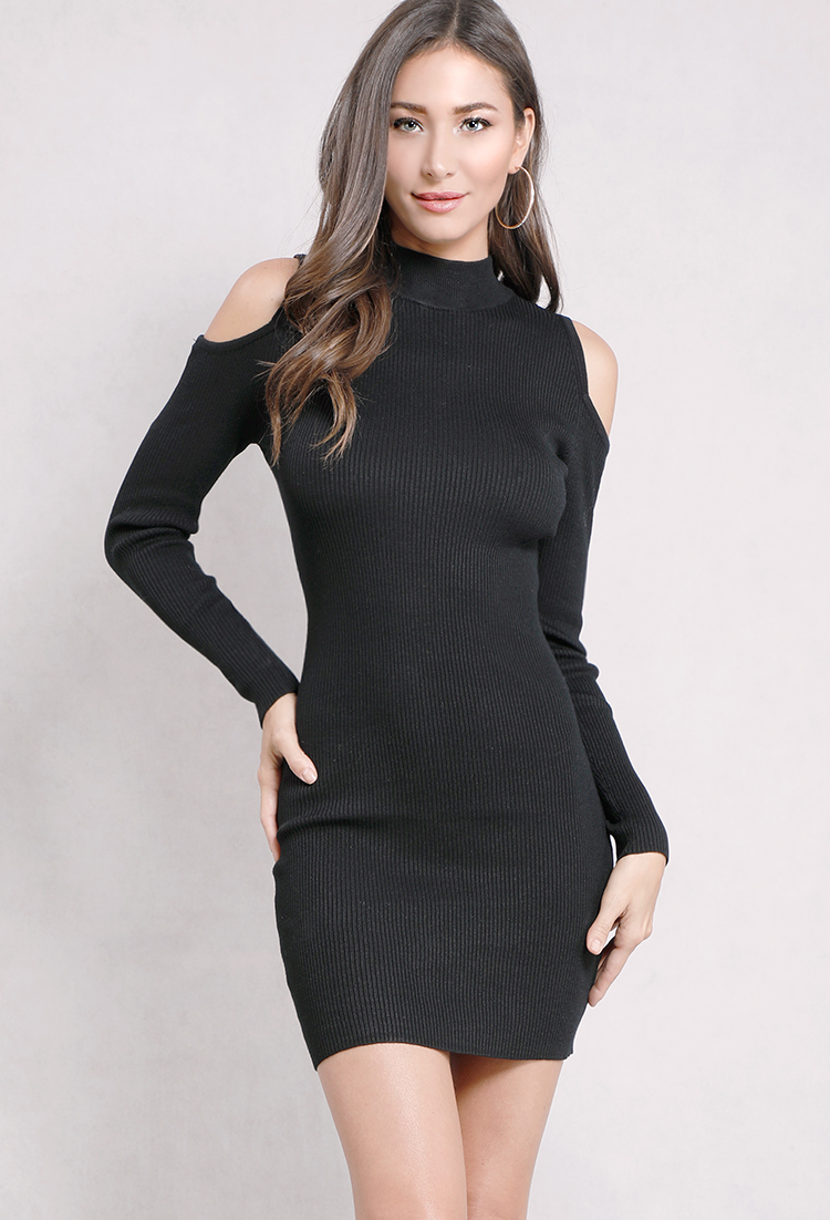 6adc6d13b9f Open-Shoulder Ribbed Mock-Neck Bodycon Dress