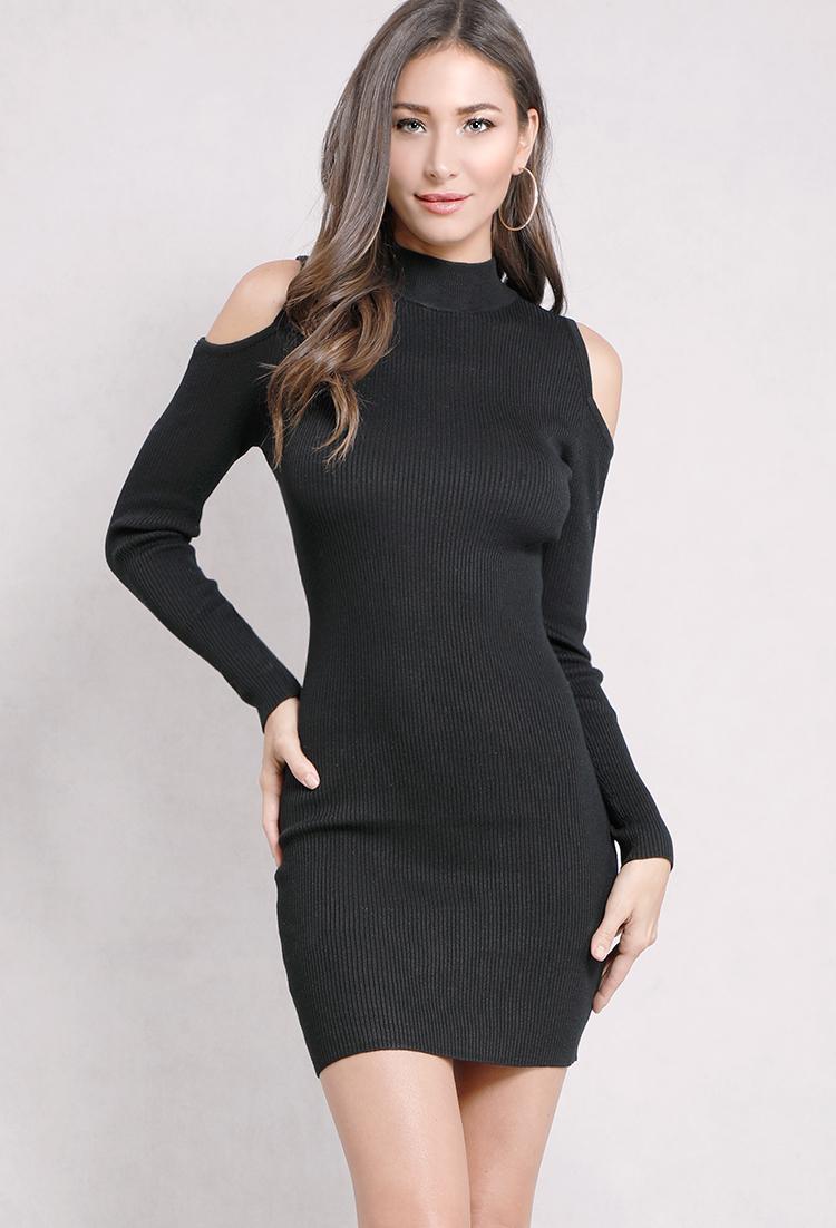 f748a4829d970 Open-Shoulder Ribbed Mock-Neck Bodycon Dress | Shop Mini at Papaya ...