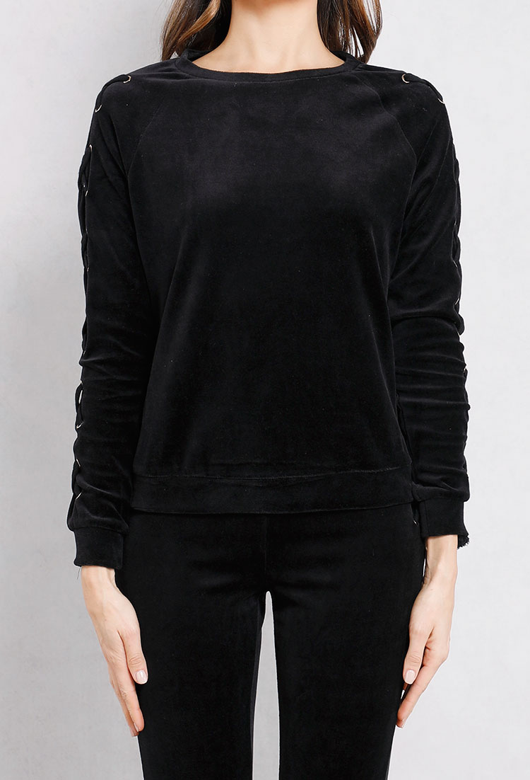 Velvet Lace-Up Sleeve Sweatshirt