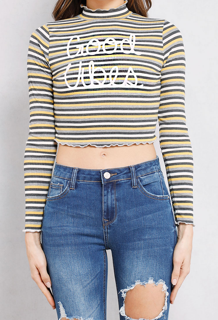 b74b71caa9348 Mock-Neck Striped Good Vibes Graphic Top