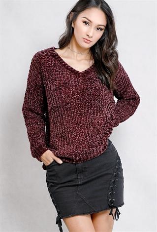 Chenille V-Neck Knit Sweater