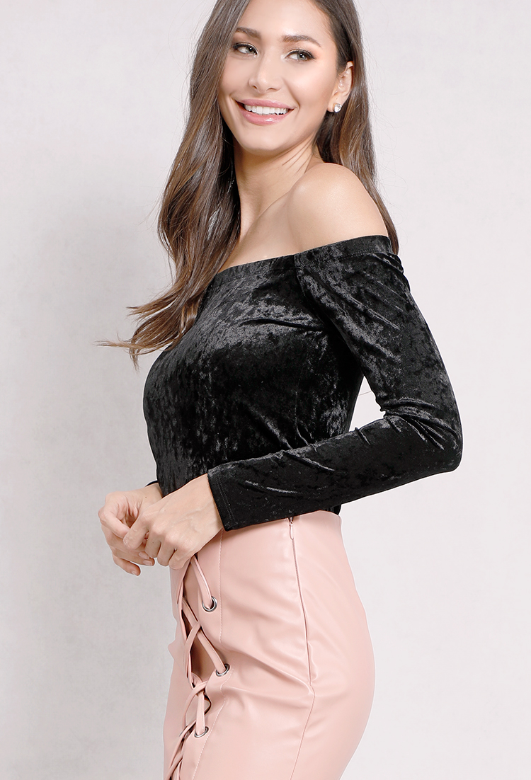 Velvet Off-The-Shoulder Top