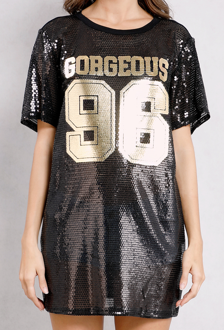 116493be Gorgeous 96 Graphic Sequin Tee | Shop Old Short Sleeve at Papaya Clothing