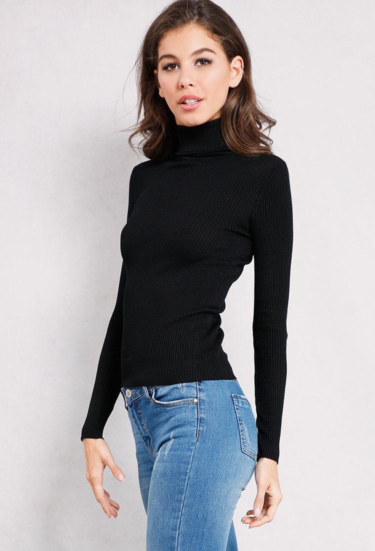 Ribbed Knit Turtleneck Sweater | Shop Long Sleeve at Papaya Clothing