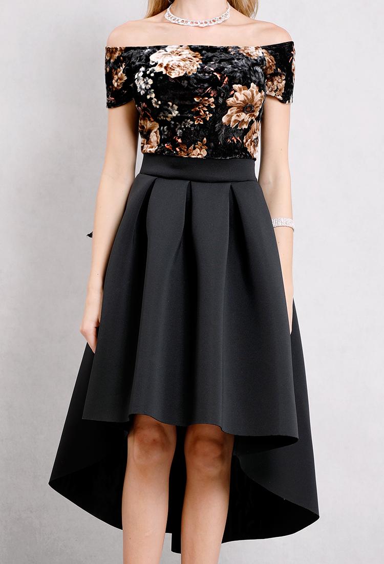 5ea5ca64f0ef Velvet Floral Printed Flare High-Low Dress