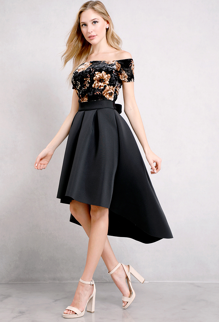Velvet Floral Printed Flare High-Low Dress
