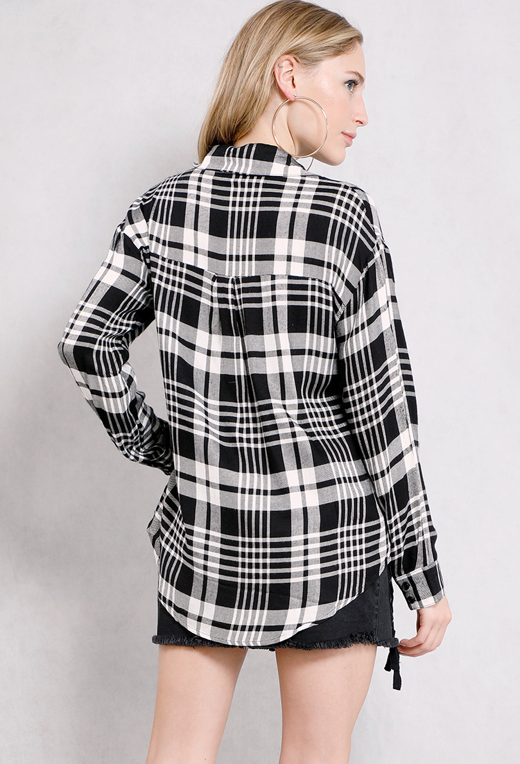 Pocket plaid flannel shirts shop blouse shirts at for Black watch plaid flannel shirt