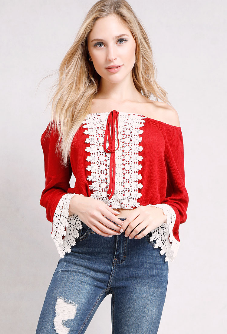 Off-The-Shoulder Crochet Trim Top