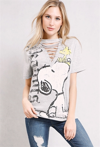 Snoopy Lace-Up Choker Graphic Top