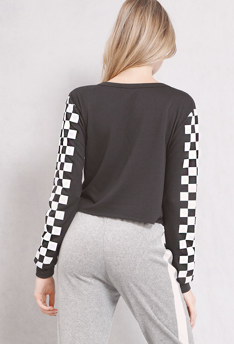 Checkered Sleeve Los Angeles California Graphic Top