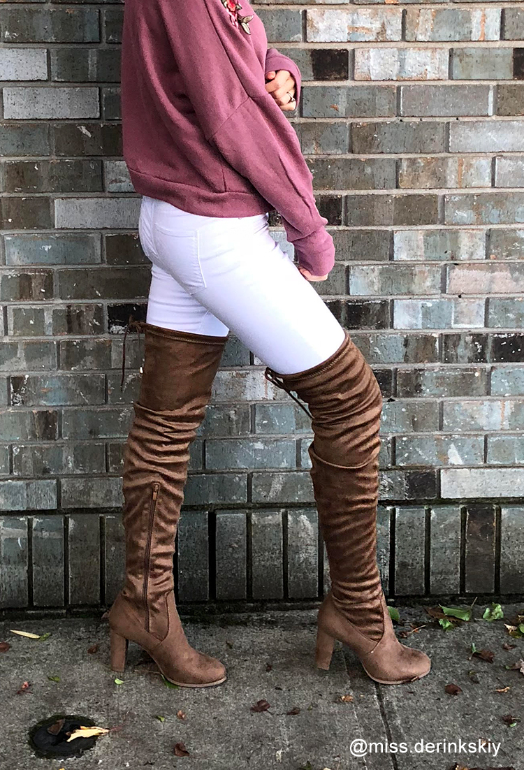 Faux Suede Thigh-High Boots