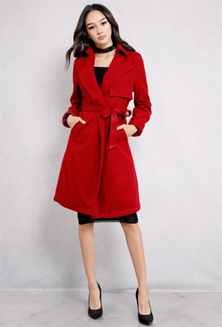 Open-Front Self-Tie Longline Coat