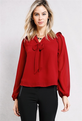 Tie-Neck Frill Trim Top