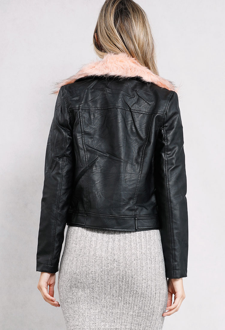 Faux Leather Moto Fur Trim Jacket