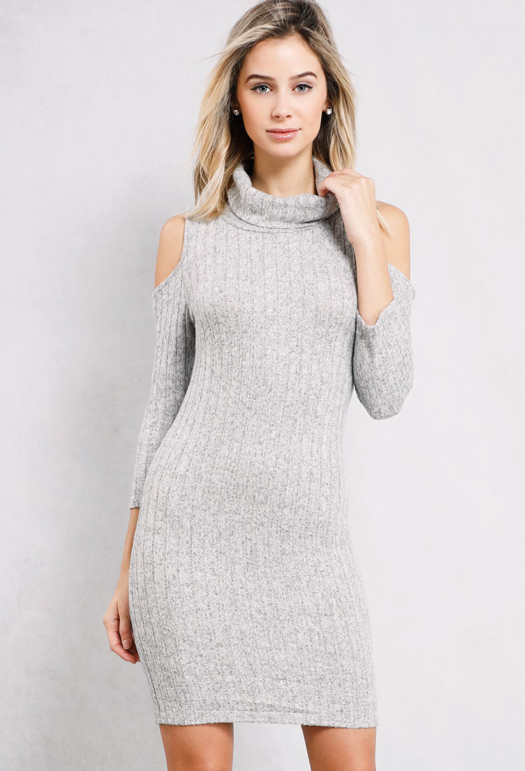 Ribbed Cowl-Neck Sweater Dress | Shop Dresses at Papaya Clothing