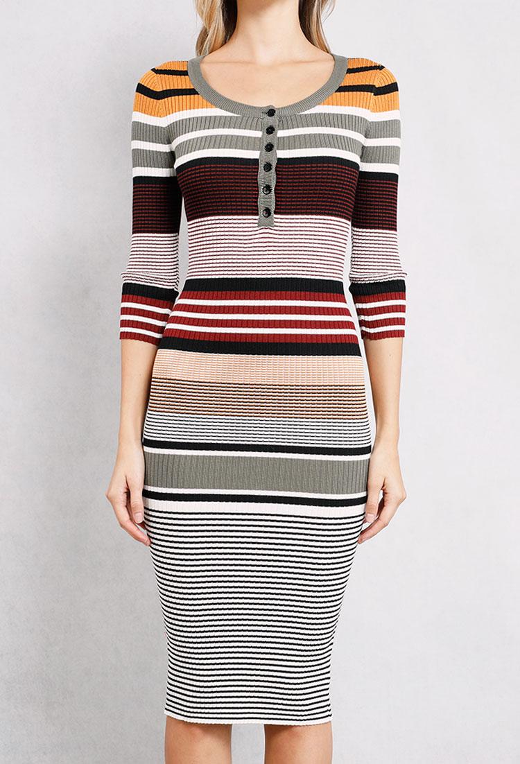 d12f445a8f Ribbed Striped Bodycon Dress