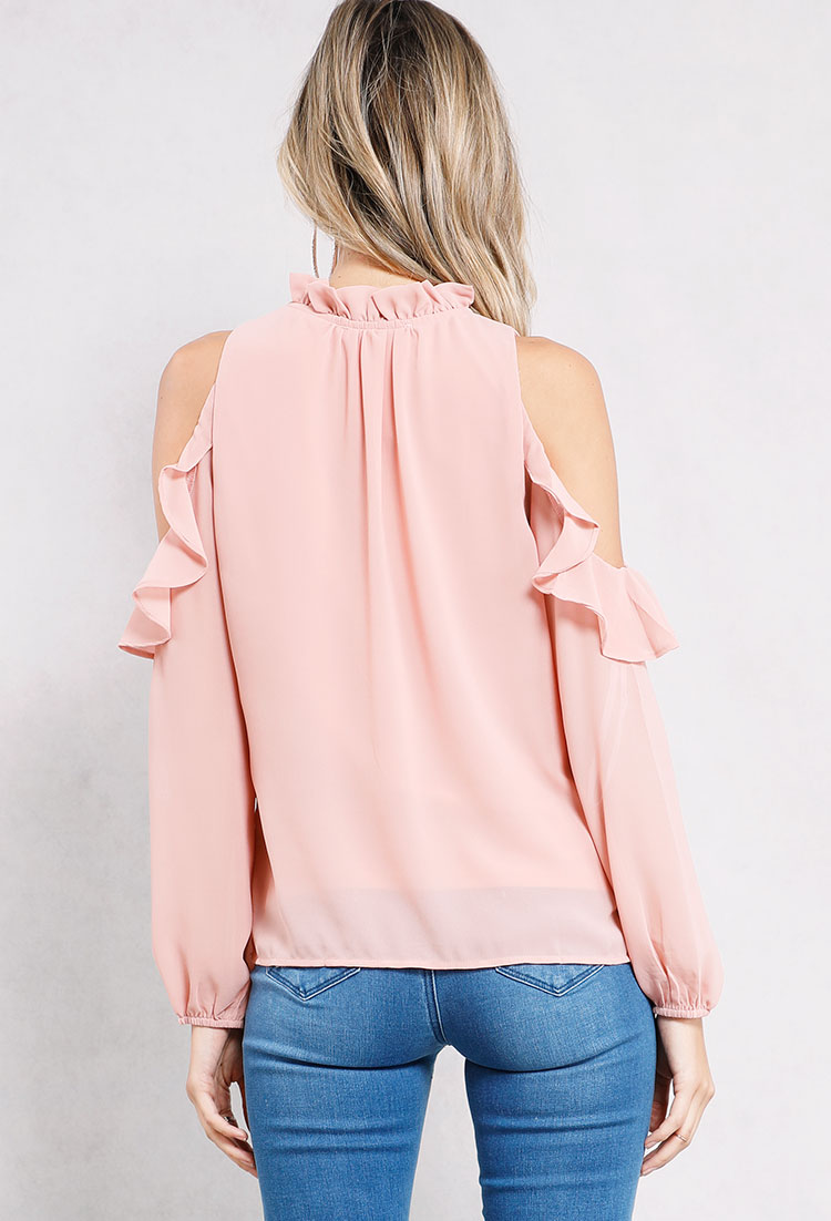 Open-Shoulder Self-Tie Frill-Trim Top