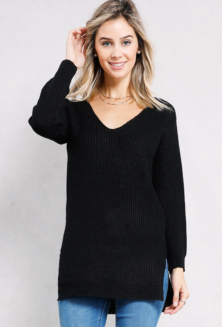 5916b0fca5 Lace-Up Back Knit Sweater