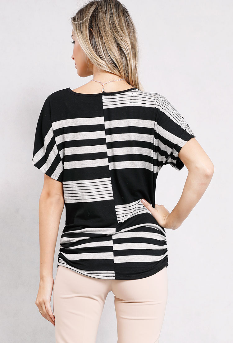 Striped Keyhole Top W/Necklace
