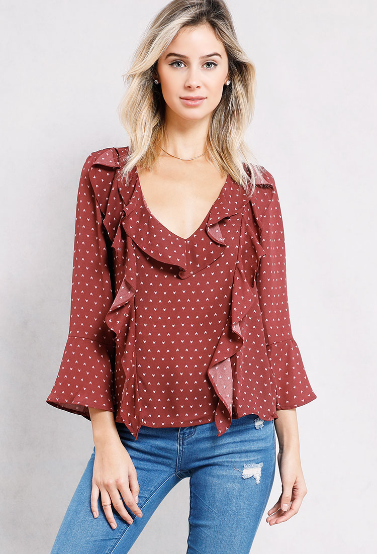 Abstract Pattern V-Neck Ruffle Front Top