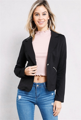 Double-Breasted Zipper Pocket Blazer