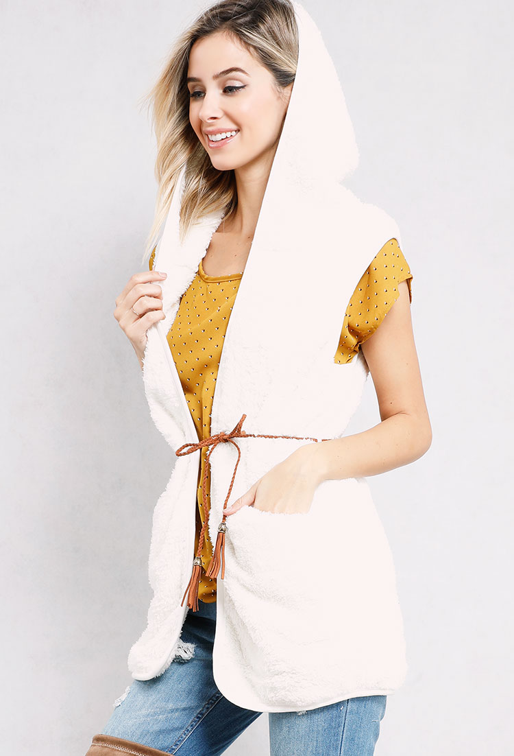 Belted Faux Sherpa Hooded Vest