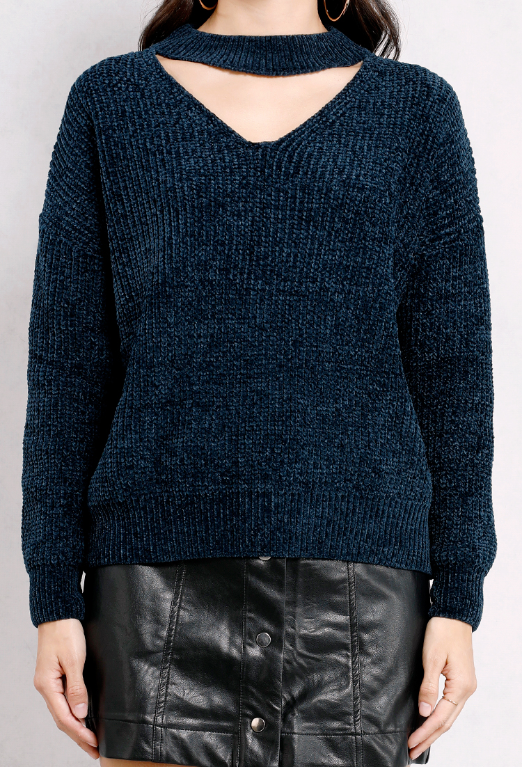 Chennile Cut-Out Knit Sweater