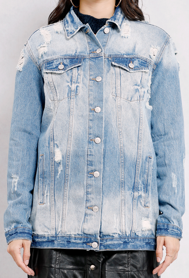 Distressed Washed Denim Jacket