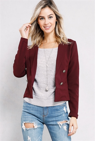 Double-Breasted Button Blazer